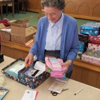Peggy volunteering at the Blythswood Shoe Box Appeal, November 2015.
