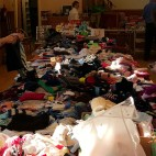Hall filled with generous donations for the Blythswood Shoe Box Appeal, November 2015.